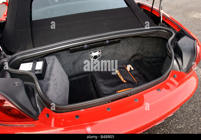 Car, Dodge Viper SRT-10, Convertible, model year 2003-, red, FGHDS, view into boot, technique/accessory, accessories - Stock Image