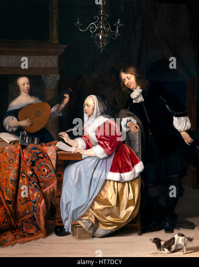 Young Woman Composing a Piece of Music, by Gabriel Metsu, circa 1661, Royal Art Gallery, Mauritshuis Museum, The - Stock Image