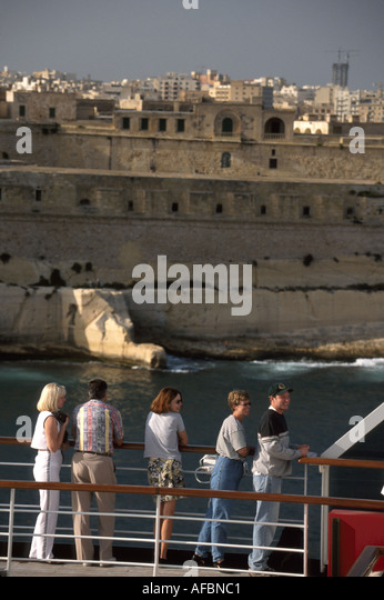 Malta Valetta Grand Harbour 16th Century fortified planned city once home to Knights of St. John cruise ship passengers - Stock Image