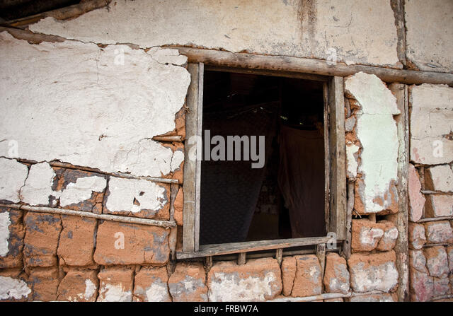 Detail of wall and house of wattle and daub window in district Commandatuba - Stock Image