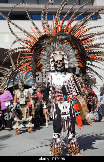 Aztec Ritual At The Da De Los Muertos Festival In San Jose California Btp on Aztec Dance Headdress