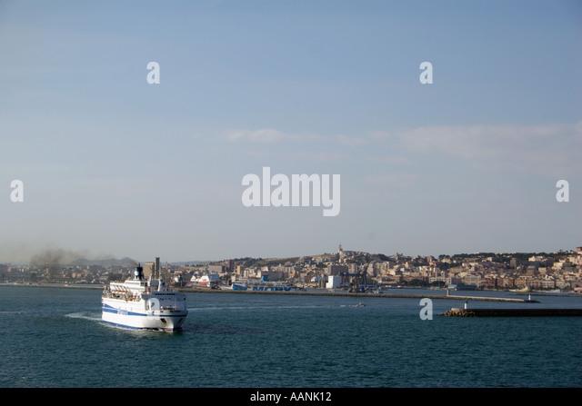 Ferry boat leaving Cagliari, Sardinia, Europe - Stock Image