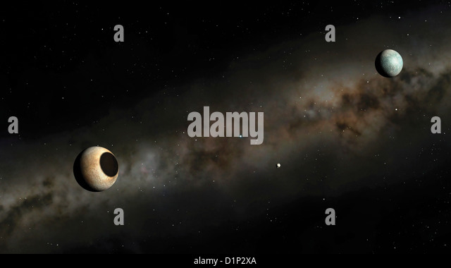 Pluto and Charon artwork - Stock Image