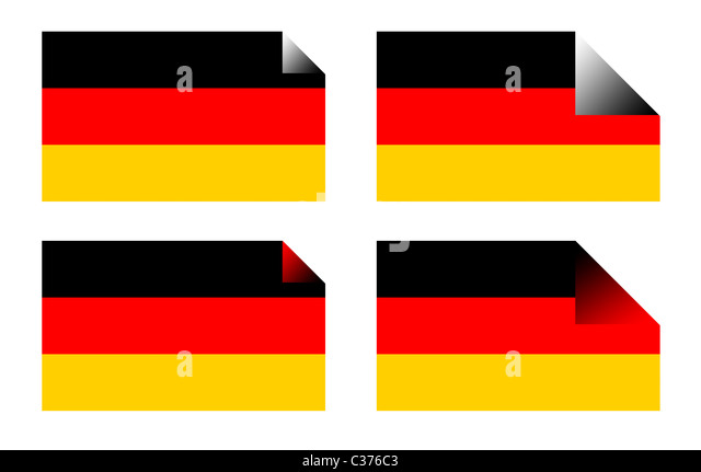 German flag labels or stickers isolated on white background. - Stock Image