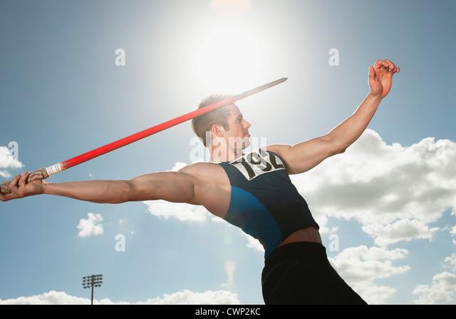 Javelin thrower aiming - Stock-Bilder