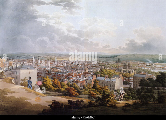 BRISTOL in an 1817 print with the docks just visible at far right. - Stock Image
