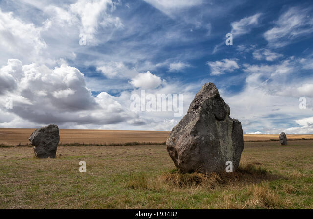 Megaliths in West Kennet avenue of standing sarsen stones, Avebury, Wiltshire, England, UK - Stock Image