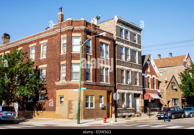 Chicago Illinois Lower West Side West 17th Street apartment buildings - Stock Image