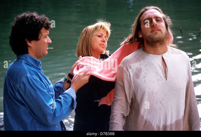 preparing an actor during production of a movie - Stock Image