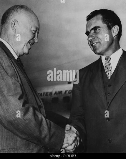 US Presidents. US President Dwight D. Eisenhower shaking hands with Vice President (and future US President) Richard - Stock Image