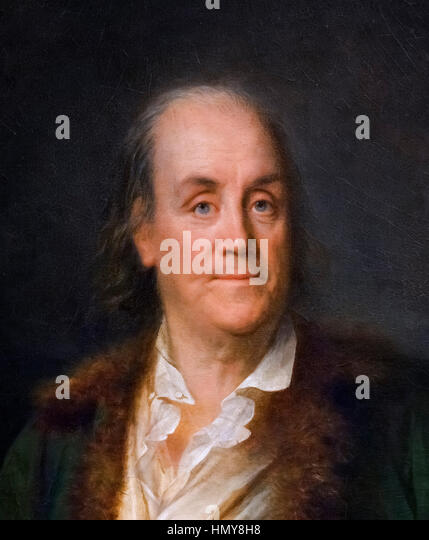 Benjamin Franklin, portrait by Anne-Rosalie Bocquet Filleul, oil on canvas, c.1778/9. Detail from a larger painting, - Stock Image