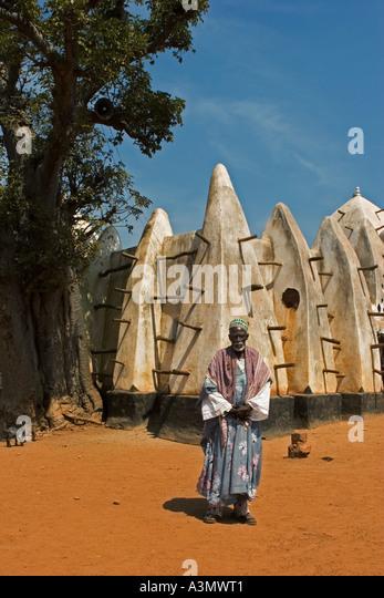 Imam outside Larabanga Mosque, Larabanga Village Ghana West Africa - Stock Image