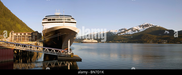 Holland America's cruise ship, Amsterdam, docked in downtown Juneau on the Gastineau Channel, Juneau, Alaska - Stock Image
