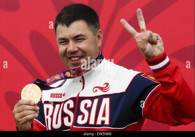 Baku, Azerbaijan. 17th June, 2015. Gold medalist, Russia's Alexey Alipov at an awards ceremony for the Men's - Stock-Bilder
