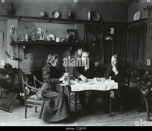 Victorian Tea Time at Artist's Studio - Stock Image