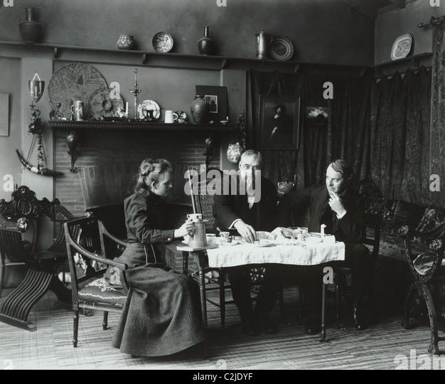 Victorian Tea Time at Artist's Studio - Stock Image