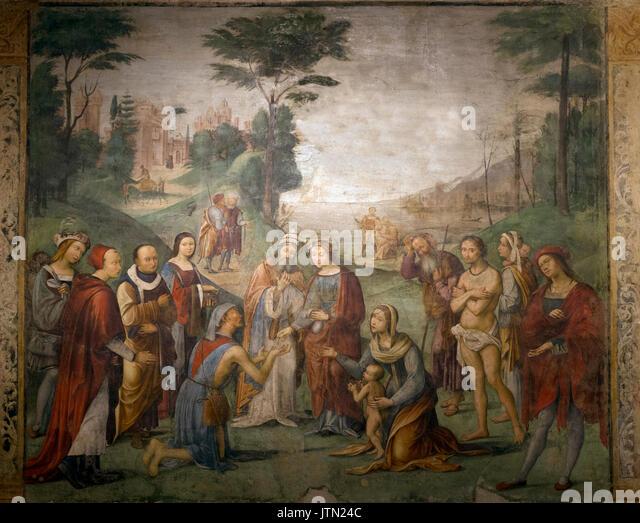 Charity of Saint Cecilia, by Lorenza Costa, 1504-1506, Oratory of St Cecilia and St Valerian, Emilia-Romagna region, - Stock Image