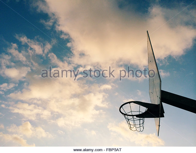 Low Angle View Of Basketball Hoop Against Sky - Stock Image