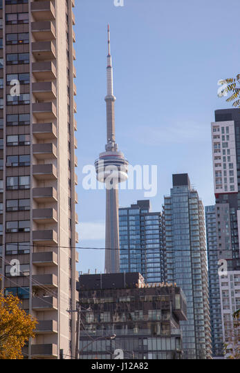 City architecture and observation tower in Toronto, Ontario. TORONTO,CANADA-NOVEMBER 01,2016: - Stock Image