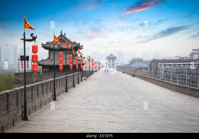 beautiful ancient city of xian at dusk - Stock Image