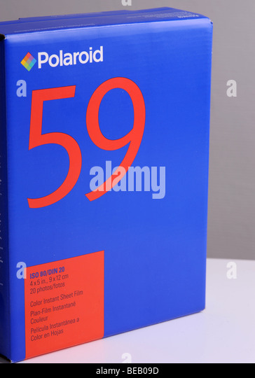 box of polaroid film T59 - Stock Image