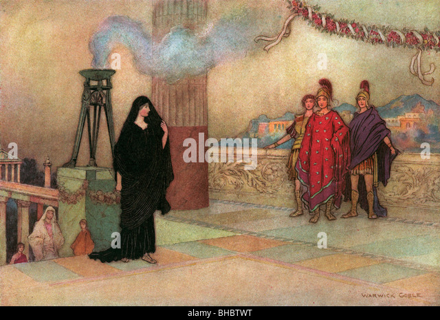 The First Meeting, by Warwick Goble, from The Complete Poetical Works of Geoffrey Chaucer, 1912. - Stock Image