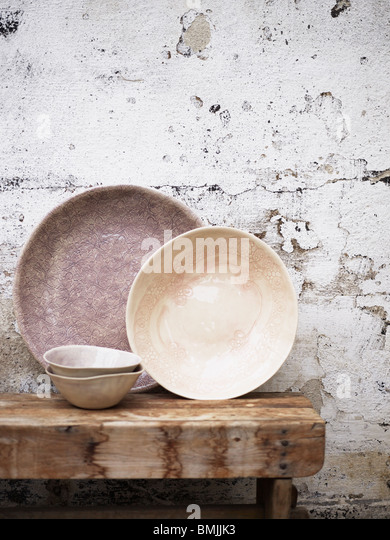 Scandinavia, Sweden, Stockholm, Old fashioned crockery on table, close-up - Stock Image