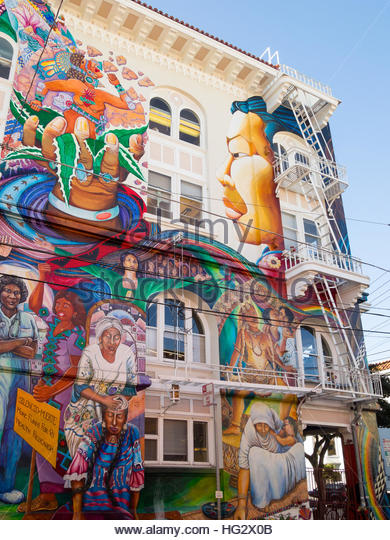 The stunning MaestraPeace mural on the exterior of The Women's Building in the Mission District of San Francisco, - Stock Image
