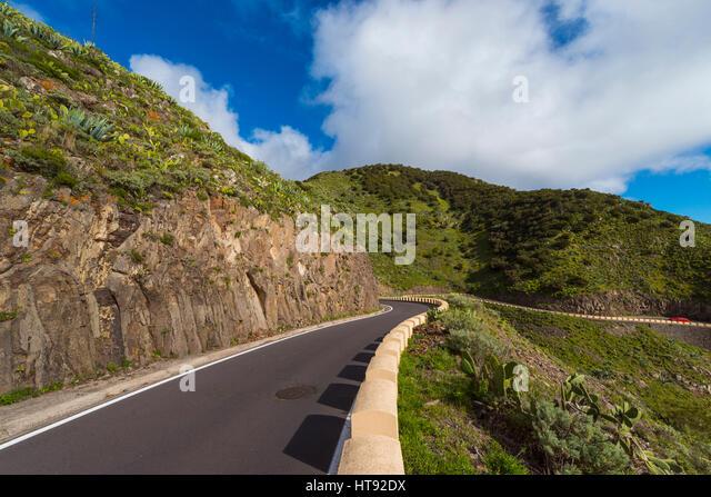 Mountain Pass Road, Teno Mountains, Masca, Tenerife, Canary Islands, Spain - Stock Image