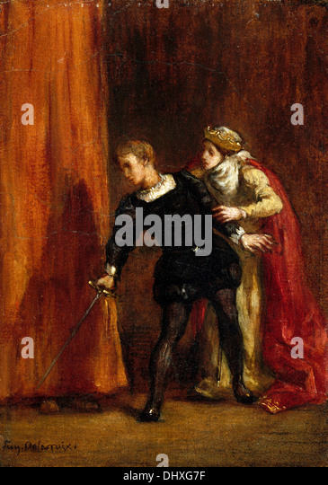 Hamlet and His Mother - by Eugène Delacroix, 1849 - Stock Image