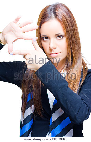 Business Woman Thinking Outside The Square Gestures A Symbol Of Creative Thinking Innovation And Inspiration With - Stock Image