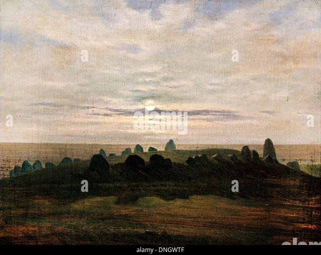 Carl Gustav Carus, Stone age stronghold at Nobbin, Rugen Island. Circa 1820. Oil on canvas. - Stock-Bilder