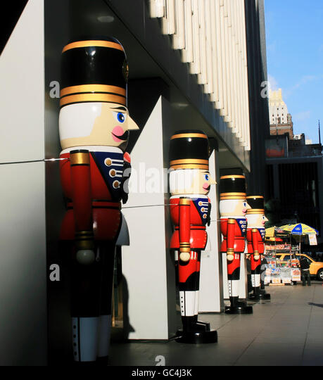 Giant nutcrackers displayed in midtown Manhattan for the Christmas holiday. - Stock Image