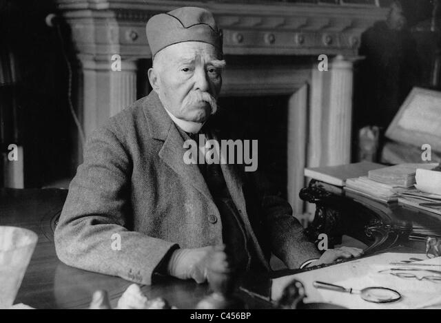 Georges Clemenceau on his 87th birthday, 1928 - Stock Image