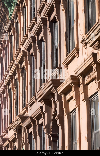 USA, New York City, Row of historic buildings - Stock Image