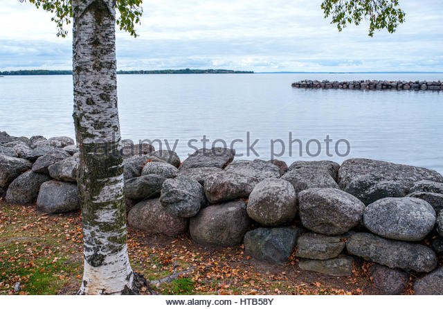 The historical town of Vadstena and the streets of cobblestones, by the lake Vattern Sweden - Stock Image