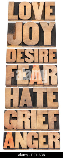 seven emotions - love, joy, desire, fear, hate, grief and anger - a collage of isolated words in letterpress wood - Stock Image