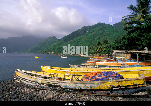 Dominica West Indies Caribbean Fishing Boats Scotts Head - Stock Image