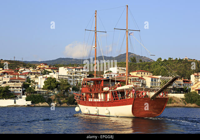 Pleasure yacht in the Aegean Sea. - Stock Image