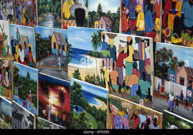 Jamaica Ocho Rios Dunn's River Falls intuitive native art primitive for sale tropical colorful - Stock Image