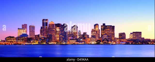 Boston, Massachusetts dusk panorama. - Stock Image
