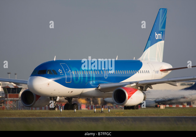 BMI British Midland Airbus A319-131 at London Heathrow airport. - Stock Image