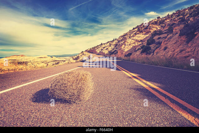 Vintage toned tumbleweed on empty road, travel concept picture. - Stock-Bilder