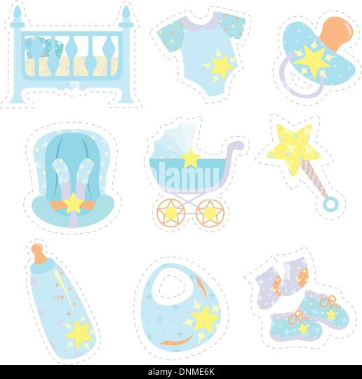 A vector illustration of baby items icons - Stock Image