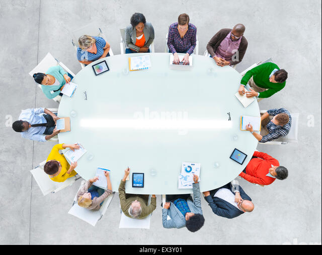 Aerial View People Working Sharing Connection Conference Table - Stock-Bilder
