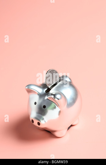 Silver piggy bank with Chinese coin - Stock Image