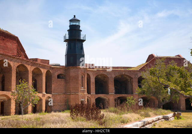 Dry Tortugas National Park - Lighthouse - Bastion C-Interior View of Garden Key Light - Stock Image