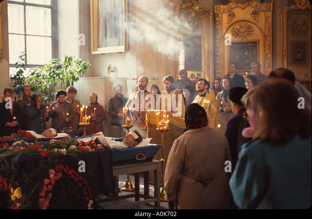 Russia former Soviet Union St. Petersburg Preobrojensky Orthodox Church interior funeral services - Stock Image