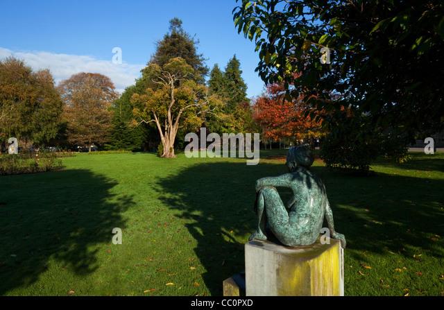 Garden With Bronze Figure Stock Photos Garden With Bronze Figure Stock