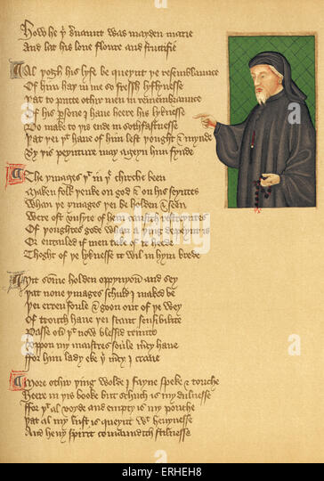 Manuscript and Chaucer portrait - from Thomas Hoccleve 's poem 'De Regimine Principum' - British Museum. - Stock Image